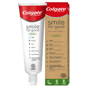 Colgate fluoride toothpaste in eco-friendly box and tube